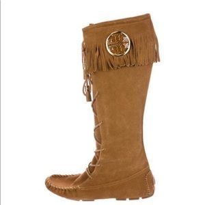 Tory Burch Golden Brown suede boots